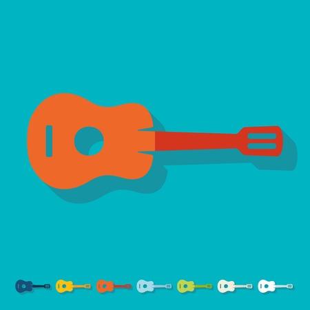 plucking: Flat design: guitar