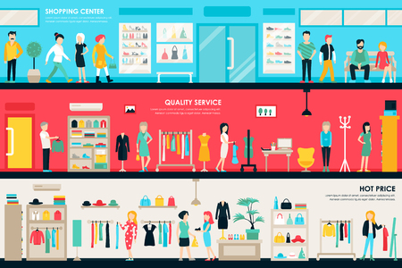 Shopping Center and Boutique Rooms flat shop interior concept web. Fashion Clothes Customers Mall Retail Purchase. Vector Illustration 일러스트