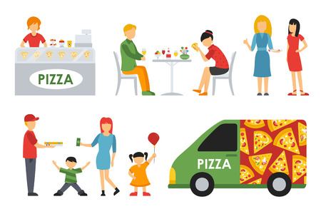 snack time: People in a Pizzeria interior flat icons set. Pizza concept web vector illustration. Cashier, Customers, Bistro, Waiters, Delivery, Car
