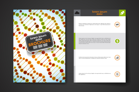 bases: Set of brochure, poster templates in DNA molecule style. Beautiful design and layout Illustration