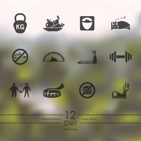 temperance: Set of diet icons Illustration