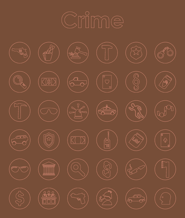 detention: Set of crime simple icons