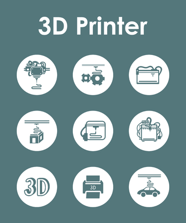 three d: Set of three d printer simple icons