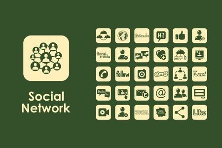 web portal: It is a set of social network simple web icons Illustration
