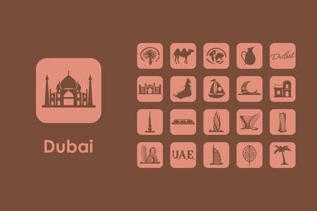 united arab emirate: It is a set of Dubai simple web icons Illustration