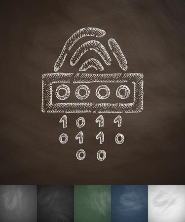 cipher: Fingerprint cipher icon. Hand drawn vector illustration. Chalkboard Design Illustration