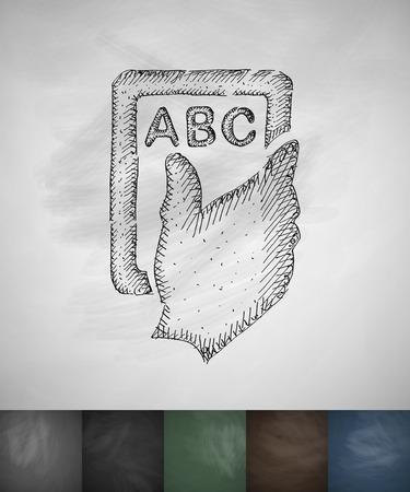 detention: hand plate icon. Hand drawn vector illustration. Chalkboard Design Illustration