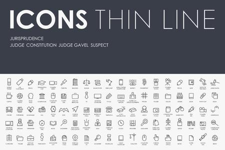 professionalism: Thin Stroke Line Icons of jurisprudence on White Background