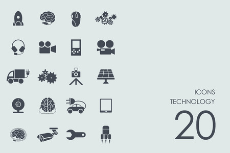 computer system: technology vector set of modern simple icons