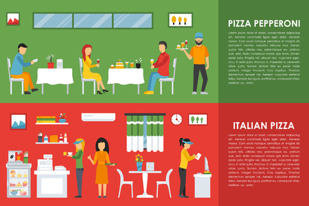 italian pizza: Pepperoni and Italian Pizza flat  concept web vector illustration. Waiter, Visitors, People. Pizzeria Restaurant interior presentation.
