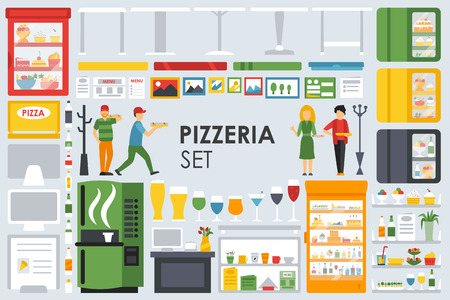 minibar: Big detailed Pizzeria Interior flat icons set. Minibar, Refrigerator, Waiter, Glasses, Coffee, Computer. Pizza conceptual web vector illustration.