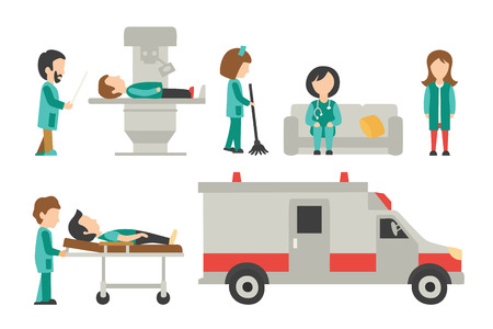 nurse practitioner: Medical Staff Flat, Isolated On White Background, Doctor, Nurse, Care, Collection People Vector Illustration, Graphic Editable For Your Design