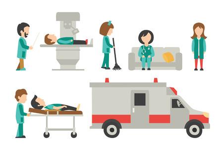 caricatura enfermera: Personal médico plana, aislada en fondo blanco, doctor, enfermera, cuidado, Ilustración Colección personas Vector, editable para su diseño gráfico