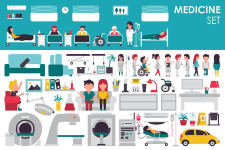 urgencias medicas: Gran Colección médica en concepto de diseño de fondo plano. elementos de Infografía conjunto con el médico personal del hospital y la enfermera alrededor del equipo de herramientas de la medicina. Iconos para su producto o ilustración
