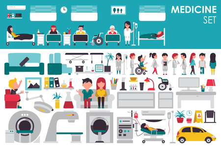 Medische grote collectie in flat design achtergrond concept. Infographic elementen instellen met ziekenhuispersoneel arts en verpleegkundige rond de geneeskunde gereedschap apparatuur. Pictogrammen voor uw product of illustratie