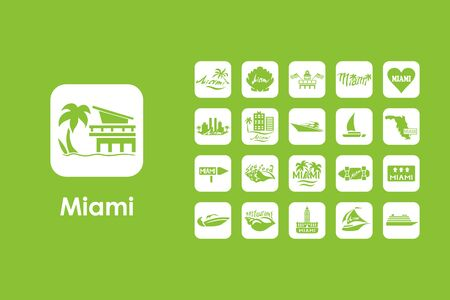 miami south beach: It is a set of Miami simple web icons