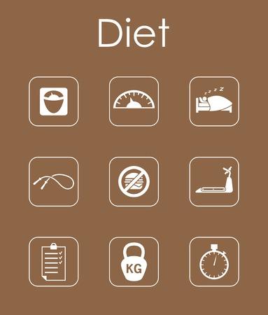 temperance: Set of diet simple icons Illustration
