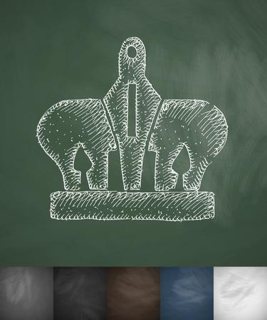 crown icon. Hand drawn vector illustration. Chalkboard Design