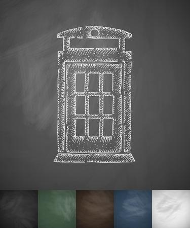 cabina telefonica: icono de la cabina de tel�fono. Dibujado a mano ilustraci�n vectorial. Dise�o pizarra