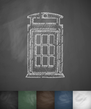 beefeater: phone booth icon. Hand drawn vector illustration. Chalkboard Design