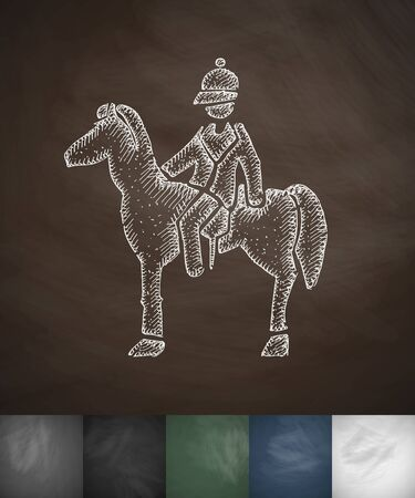 beefeater: Rider on the horse icon. Hand drawn vector illustration. Chalkboard Design