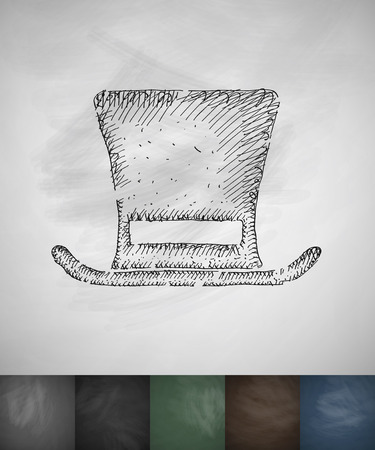 beefeater: cylinder hat icon. Hand drawn vector illustration. Chalkboard Design