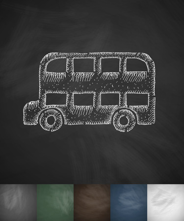 beefeater: bus icon. Hand drawn vector illustration. Chalkboard Design