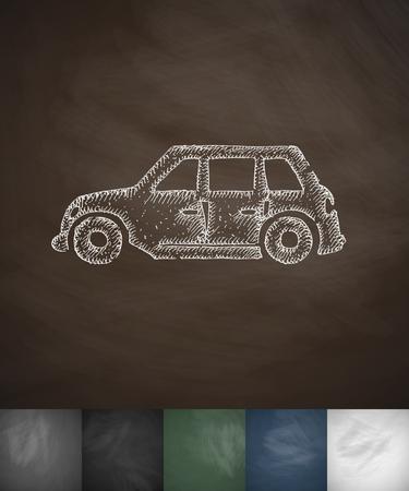car icon. Hand drawn vector illustration. Chalkboard Design