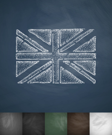 beefeater: flag of England icon. Hand drawn vector illustration. Chalkboard Design