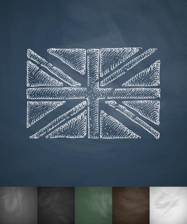 flag of England icon. Hand drawn vector illustration. Chalkboard Design
