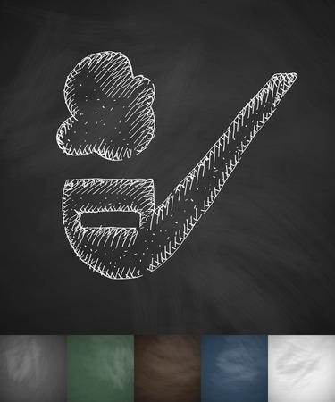 smoking pipe icon. Hand drawn vector illustration. Chalkboard Design