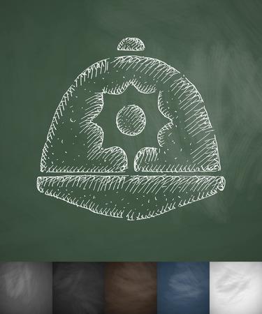 beefeater: headdress icon. Hand drawn vector illustration. Chalkboard Design