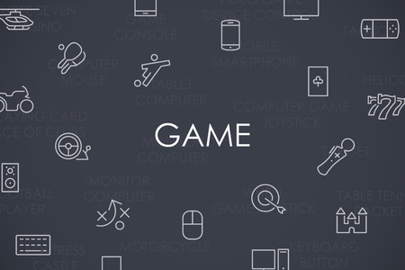 gaming: Thin Stroke Line Icons of Gaming on White Background Illustration