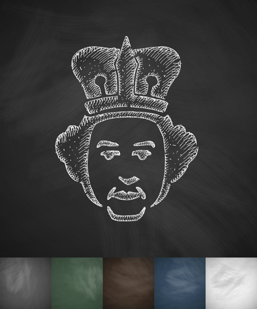 beefeater: queen icon. Hand drawn vector illustration. Chalkboard Design