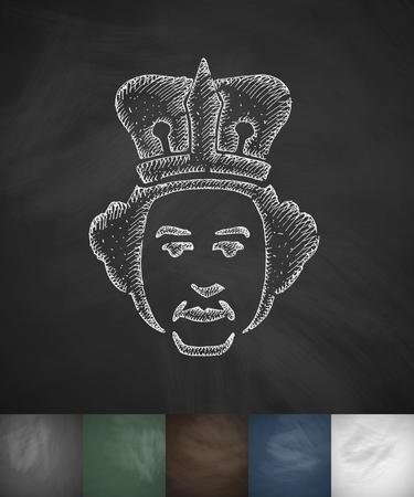 queen icon. Hand drawn vector illustration. Chalkboard Design