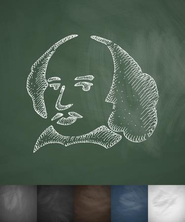 beefeater: man icon. Hand drawn vector illustration. Chalkboard Design