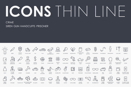 detention: Thin Stroke Line Icons of crime on White Background