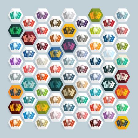 concertina: Flat design: accordion Illustration