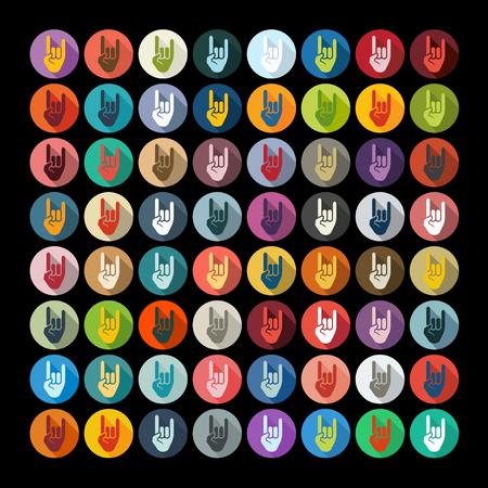 rock hand: Flat design: rock hand gesture