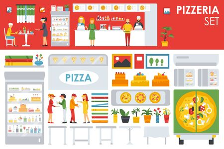 deliveryman: Big detailed Pizzeria Interior flat icons set. Menu, Refrigerator, Waiter, Chairs, Deliveryman, Tables. Pizza conceptual web vector illustration.