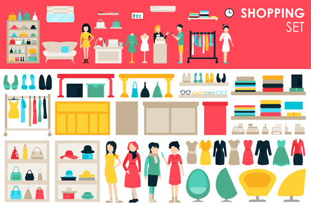 shopping mall: Shopping Big Collection in flat design background concept. Infographic Elements Set With Mall Staff Clothes And Furniture People Interior Objects