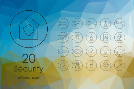 security lights: security modern icons for mobile interface on blurred background