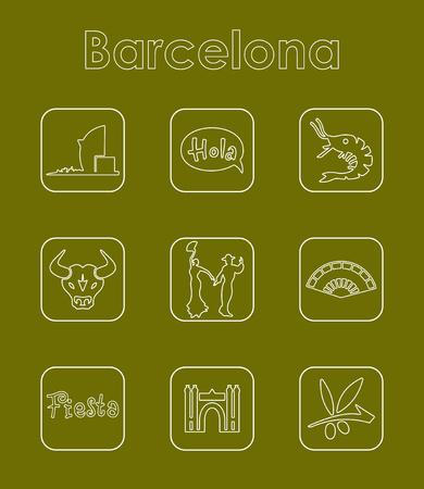 port of spain: Set of Barcelona simple icons Illustration