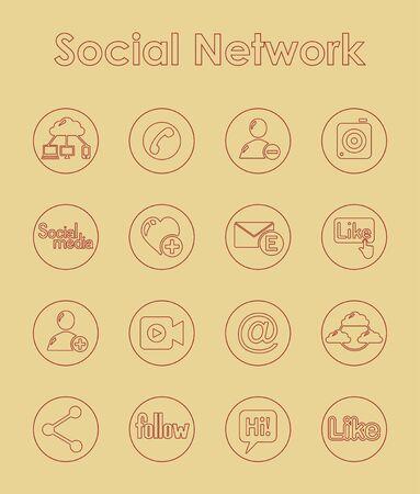 Set des sozialen Netzwerks einfache Symbole