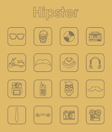 Set of hipster simple icons Vektoros illusztráció