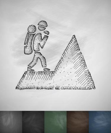 ice ax: climber icon. Hand drawn vector illustration. Chalkboard Design