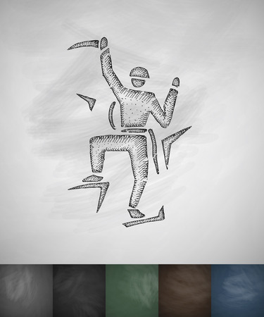alpinist: alpinist icon. Hand drawn vector illustration. Chalkboard Design