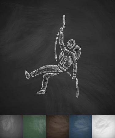 ice ax: alpinist icon. Hand drawn vector illustration. Chalkboard Design