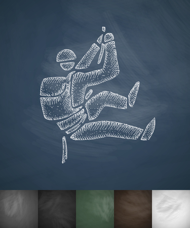 mountaineer: mountaineer icon. Hand drawn vector illustration. Chalkboard Design Illustration