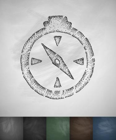 ice ax: compass icon. Hand drawn vector illustration. Chalkboard Design